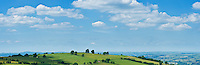 Scenic summer view over rural countryside from Hay Bluff, near Hay-on-Wye, Brecon Beacons national park, Wales