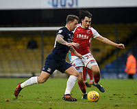 Fleetwod Town's Markus Schwabl battles with Southend United's Michael Timlin<br /> <br /> Photographer Hannah Fountain/CameraSport<br /> <br /> The EFL Sky Bet League One - Southend United v Fleetwood Town - Saturday 13th January 2018 - Roots Hall - Southend<br /> <br /> World Copyright &copy; 2018 CameraSport. All rights reserved. 43 Linden Ave. Countesthorpe. Leicester. England. LE8 5PG - Tel: +44 (0) 116 277 4147 - admin@camerasport.com - www.camerasport.com
