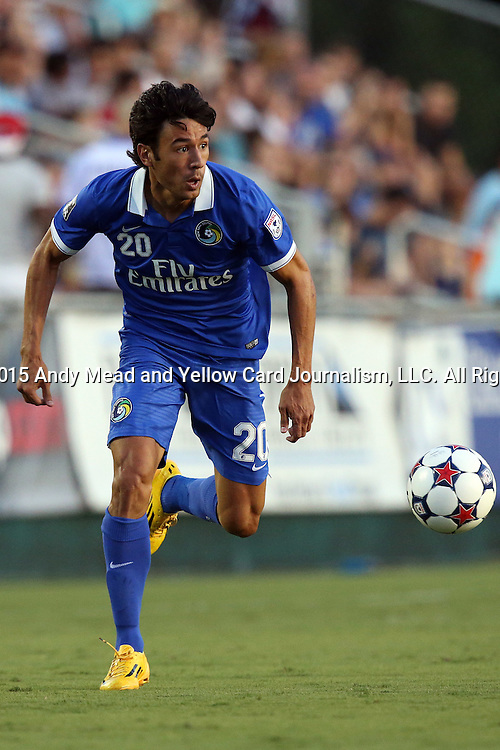 22 August 2015: New York's Walter Restrepo. The Carolina RailHawks hosted the New York Cosmos at WakeMed Stadium in Cary, North Carolina in a North American Soccer League 2015 Fall Season match. Cosmos won the game 3-1.
