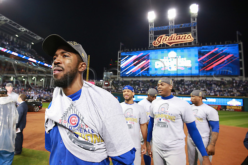 02.11.2016. Cleveland, OH, USA.  Chicago Cubs center fielder Dexter Fowler (24) celebrates after winning game 7 of the 2016 World Series against the Chicago Cubs and the Cleveland Indians at Progressive Field in Cleveland, OH. Chicago defeated Cleveland 8-7 in 10 innings.