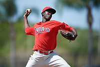 Philadelphia Phillies pitcher Franklyn Kilome (65) during a minor league Spring Training game against the Pittsburgh Pirates on March 24, 2017 at Carpenter Complex in Clearwater, Florida.  (Mike Janes/Four Seam Images)
