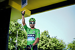Green Jersey Peter Sagan (SVK) Bora-Hansgrohe at sign on before Stage 10 of the 2019 Tour de France running 217.5km from Saint-Flour to Albi, France. 15th July 2019.<br /> Picture: ASO/Pauline Ballet | Cyclefile<br /> All photos usage must carry mandatory copyright credit (© Cyclefile | ASO/Pauline Ballet)