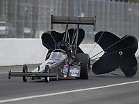 Feb 10, 2018; Pomona, CA, USA; NHRA top fuel driver Steve Faria during qualifying for the Winternationals at Auto Club Raceway at Pomona. Mandatory Credit: Mark J. Rebilas-USA TODAY Sports