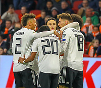 celebrate the goal, Torjubel zum 0:1 von Leroy Sane (Deutschland Germany) mit Thilo Kehrer (Deutschland Germany), Serge Gnabry (Deutschland Germany), Leon Goretzka (Deutschland, Germany)Nico Schulz (Deutschland Germany) - 24.03.2019: Niederlande vs. Deutschland, EM-Qualifikation, Amsterdam Arena, DISCLAIMER: DFB regulations prohibit any use of photographs as image sequences and/or quasi-video.