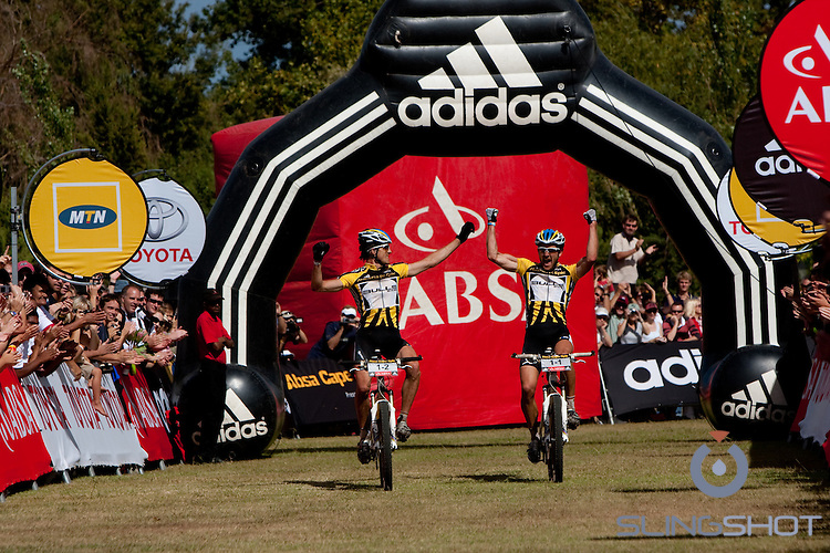 during the final stage (stage eight) of the 2010 Absa Cape Epic Mountain Bike stage race held in and around Oak Valley in the Western Cape, South Africa on the 27 March 2010.Photo by Karin Schermbrucker/SPORTZPICS