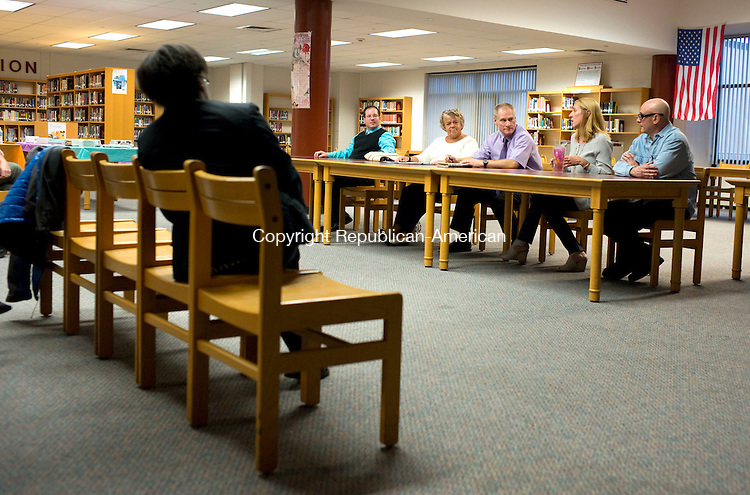 Torrington, CT- 30 September 2015-093015CM17-  From left, Daniel Thibault, Joanne Brogis, Peter Vergaro, Wendy Pataky and Andrew Nargi meet at the Torrington High School library on Wednesday.  The Torrington High School Parent Teacher Organization held a forum for the group Board of Education candidates.    Christopher Massa Republican-American