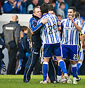 KILMARNOCK'S MANUEL PASCALI IS CONGRATULATED AT THE END OF THE GAME BY MANAGER KENNY SHIELS