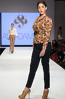 Model walks runway at  Aso Damisi show during Miami Fashion Week 2013, Miami Beach Convention Center, Miami, FL on March 20, 2013