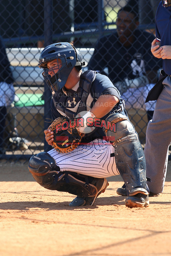 New York Yankees minor league catcher J.R. Murphy (38) vs. the Pittsburgh Pirates in an Instructional League game at the New York Yankees Minor League Complex in Tampa, Florida;  October 8, 2010.  Photo By Mike Janes/Four Seam Images