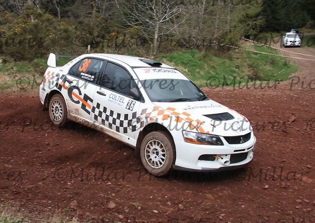John Rintoul / Jim Rintoul in a Mitsubishi Evolution 8 at Junction 8 on Whytes Cranes Special Stage 3 Drumtochty of the Coltel Granite City Rally 2012 which was based at the Thainstone Agricultural Centre, Inverurie.