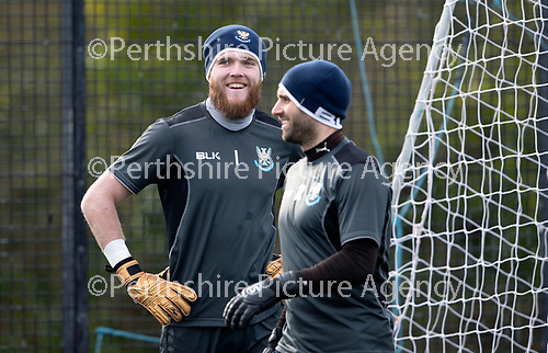 St Johnstone Training&hellip;05.02.19<br />Zander Clark and Cammy Bell pictured during training this morning at McDiarmid Park ahead of tomorrow&rsquo;s game at Hamilton<br />Picture by Graeme Hart.<br />Copyright Perthshire Picture Agency<br />Tel: 01738 623350  Mobile: 07990 594431