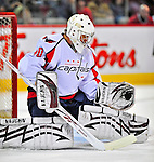 13 December 2008: Washington Capitals' goaltender Simeon Varlamov from Russia warms up prior to facing the Montreal Canadiens at the Bell Centre in Montreal, Quebec, Canada. ***** Editorial Sales Only ***** Mandatory Photo Credit: Ed Wolfstein Photo
