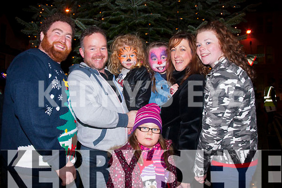 Festive fun<br /> -------------<br /> Enjoying the arrival of Santa in the square,Killorglin last Sunday evening were in front Saoirse Cronin,Back L-R John O'Sullivan,Mike,HannaKate,Lauren,susan&Adele Griffin all from killorglin.