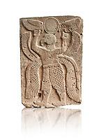 Pictures & images of the North Gate Hittite sculpture stele depicting a winged bird God. 8the century BC.  Karatepe Aslantas Open-Air Museum (Karatepe-Aslantaş Açık Hava Müzesi), Osmaniye Province, Turkey. Against white background