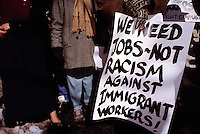 (011103-SWR01.jpg) New York, NY - File Photo - Immigrant workers protest outside City Hall...© Stacy Walsh Rosesntock