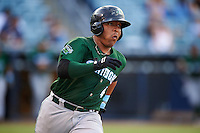 Daytona Tortugas catcher Chad Tromp (4) runs to first during a game against the Tampa Yankees on August 5, 2016 at George M. Steinbrenner Field in Tampa, Florida.  Tampa defeated Daytona 7-1.  (Mike Janes/Four Seam Images)