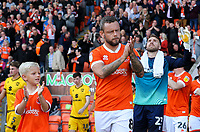 Blackpool's Jay Spearing leads a young mascot out on the pitch at Bloomfield Road<br /> <br /> Photographer Alex Dodd/CameraSport<br /> <br /> The EFL Sky Bet League One - Blackpool v MK Dons  - Saturday September 14th 2019 - Bloomfield Road - Blackpool<br /> <br /> World Copyright © 2019 CameraSport. All rights reserved. 43 Linden Ave. Countesthorpe. Leicester. England. LE8 5PG - Tel: +44 (0) 116 277 4147 - admin@camerasport.com - www.camerasport.com