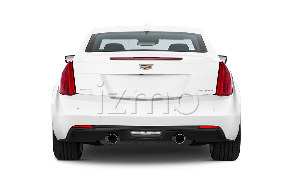Straight rear view of 2015 Cadillac ATS 2.0 RWD Premium 2 Door Coupe Rear View  stock images