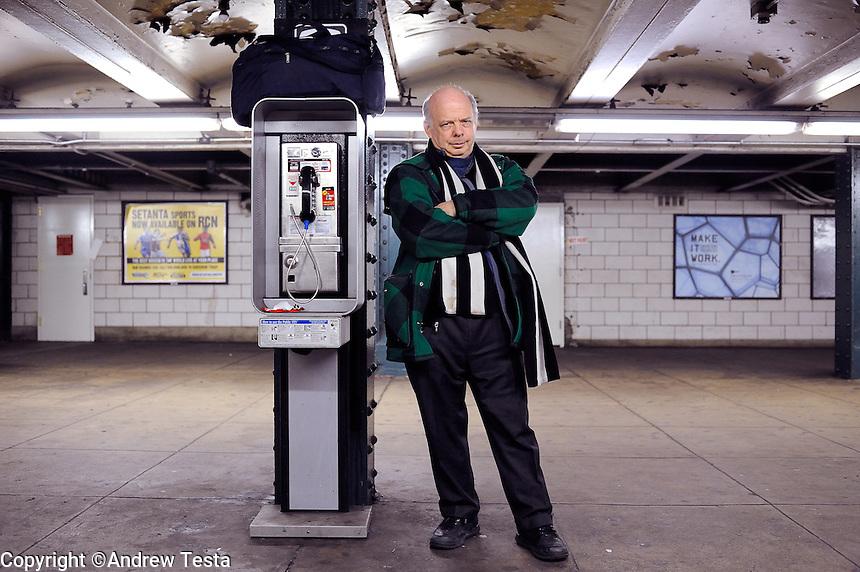USA. Manhattan . 24th March 2009.Wallace Shawn at West 4th subway station, Manhattan..©Andrew Testa.