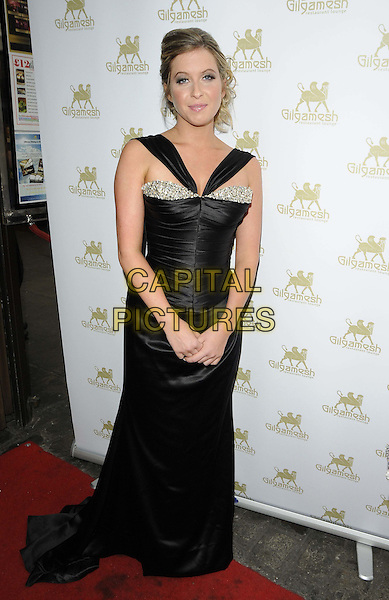 Brooke Kinsella.The Charity Gala Dinner in aid of the Ben Kinsella Trust, Gilgamesh Restaurant, London, England..June 25th, 2012.full length black dress silk satin ruched silver jewel encrusted.CAP/CAN.©Can Nguyen/Capital Pictures.