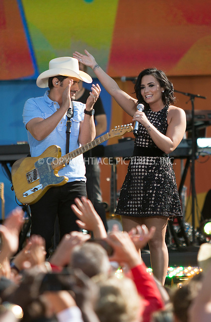 www.acepixs.com<br /> <br /> June 24 2016, New York City<br /> <br /> (L-R) Brad Paisley and Demi Lovato perform on ABC's 'Good Morning America' at the SummerStage in Central Park on June 24, 2016 in New York City.<br /> <br /> By Line: Serena Xu/ACE Pictures<br /> <br /> <br /> ACE Pictures Inc<br /> Tel: 6467670430<br /> Email: info@acepixs.com<br /> www.acepixs.com