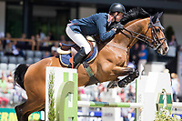 GBR-Spencer Roe (WONDER WHY) LONGINES Grand Prix Port of Rotterdam (Table A with Jump-Off) 160cm: 2014 NED-CHIO Rotterdam (Sunday 22 June) CREDIT: Libby Law COPYRIGHT: LIBBY LAW PHOTOGRAPHY - NZL