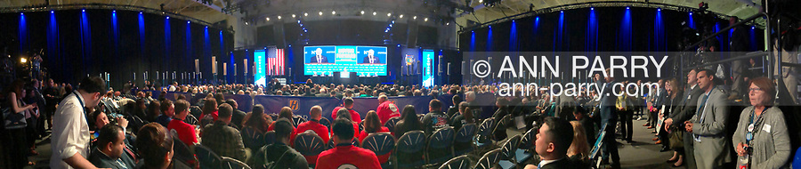 Hempstead, New York, USA. May 23, 2018. New York State Comptroller TOM DiNAPOLI makes acceptance speech after he wins unanimous nomination of delegates during Day 1 of New York State Democratic Convention, held at Hofstra University on Long Island. NYS Democratic Leaders on stage include CHRISTINE QUINN, Exec. Committee Chair, sitting to right of DiNapoli.