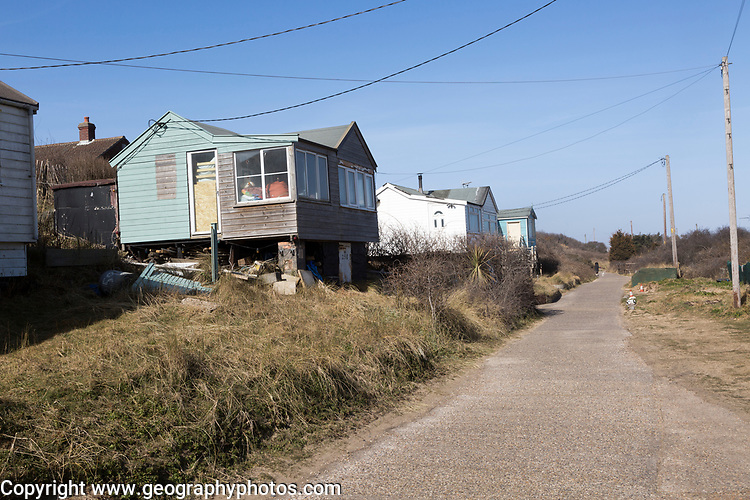 March 2018, Clifftop property just inland from homes collapsing due to coastal erosion after recent storm force winds, Hemsby, Norfolk, England, UK