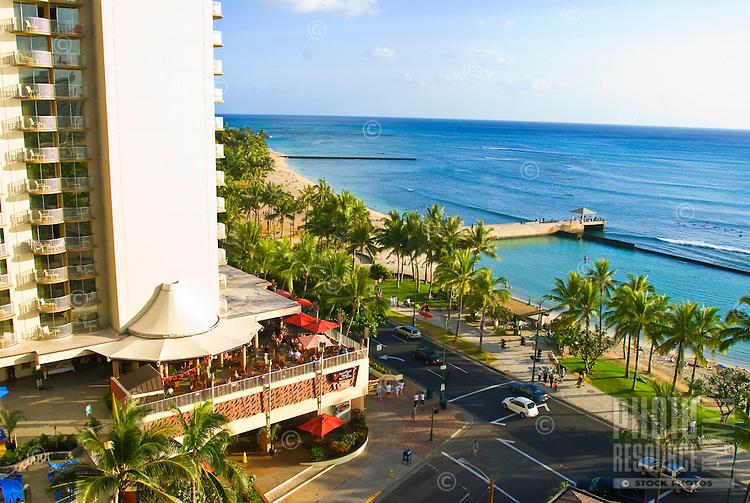 Overlooking Kalakaua Avenue and world famous Waikiki Beach in Honolulu, Hawaii