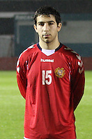 Aghvan Papikyan in the Armenia v Switzerland UEFA European Under-19 Championship Qualifying Round match at New Douglas Park, Hamilton on 11.10.12.