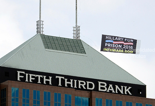 Anti-Hillary sign flies near the Quicken Loans Arena, site of the 2016 Republican National Convention on Saturday, July 16, 2016.<br /> Credit: Ron Sachs / CNP<br /> (RESTRICTION: NO New York or New Jersey Newspapers or newspapers within a 75 mile radius of New York City)