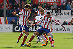 Atletico de Madrid´s Tiago Cardoso (L) and Gimenez  during 2014-15 La Liga match between Atletico de Madrid and Deportivo de la Coruña at Vicente Calderon stadium in Madrid, Spain. November 30, 2014. (ALTERPHOTOS/Victor Blanco)
