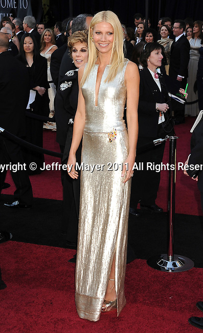 HOLLYWOOD, CA - FEBRUARY 27: Gwyneth Paltrow  arrives at the 83rd Annual Academy Awards held at the Kodak Theatre on February 27, 2011 in Hollywood, California.
