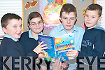Reading fun: Daniel Aslett, Cliona Costello, Sean Harrington and Anthony Rigney, enjoying the Gabriel Fitzmaurice reading at Killahan National School, Abbeydorney on Friday morning..