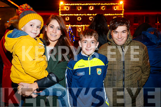 Aidan Chloe, Daniel and Robert Evans at the Fireworks in Tralee on New Years Eve.