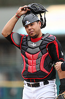 Catcher Juan Centeno (59) of the Rochester Red Wings awaits the first Scranton Wilkes-Barre Railriders batter on May 1, 2016 at Frontier Field in Rochester, New York. Red Wings won 1-0.  (Christopher Cecere/Four Seam Images)