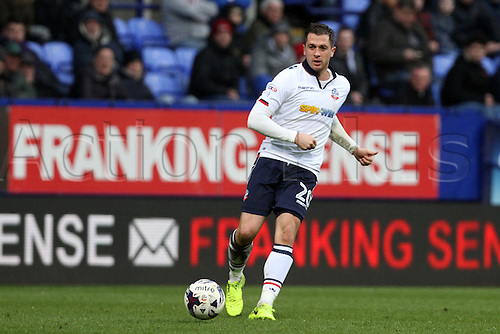 March 4th 2017,  Macron Stadium, Bolton, England;  Skybet league 1 football, Bolton Wanderers versus AFC Wimbledon;  Andrew Taylor of Bolton Wanderers in action