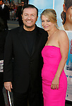 """HOLLYWOOD, CA. - September 21: Ricky Gervais and Jane Fallon arrive at the Los Angeles premiere of """"The Invention of Lying"""" at the Grauman's Chinese Theatr on September 21, 2009 in Hollywood, California."""