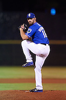 Biloxi Shuckers pitcher Martin Viramontes (18) delivers a pitch during a game against the Birmingham Barons on May 23, 2015 at Joe Davis Stadium in Huntsville, Alabama.  Birmingham defeated Biloxi 2-0 as the Shuckers are playing all games on the road, or neutral sites like their former home in Huntsville, until the teams new stadium is completed in early June.  (Mike Janes/Four Seam Images)