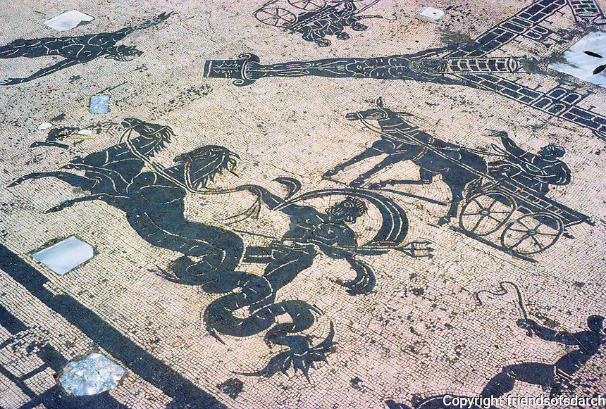 Italy: Ostia--Mosaic, floor of tomb; Neptune, and the man in donkey cart. Photo '83.