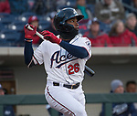 Aces shortstop Domingo Leyba (26) swings during the 2019 opening day game between the Reno Aces and the Albuquerque Isotopes at Greater Nevada Field in Reno, Nevada on Tuesday, April 9, 2019.