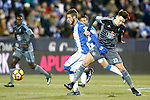 CD Leganes' Ruben Perez (l) and Celta de Vigo's Josep Sene during La Liga match. January 28,2017. (ALTERPHOTOS/Acero)