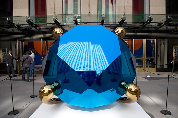 "Jeff Koons' ""Blue Diamond"" sculpture, on sale at Christie's New York.  The world's biggest diamond is valued at about $12 million."