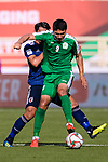 Orazsahedov Vahyt of Turkmenistan (R) battles for the ball with Makino Tomoaki of Japan (L) during the AFC Asian Cup UAE 2019 Group F match between Japan (JPN) and Turkmenistan (TKM) at Al Nahyan Stadium on 09 January 2019 in Abu Dhabi, United Arab Emirates. Photo by Marcio Rodrigo Machado / Power Sport Images