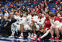 NWA Democrat-Gazette/CHARLIE KAIJO Arkansas Razorbacks players react during the Southeastern Conference Men's Basketball Tournament, Thursday, March 8, 2018 at Scottrade Center in St. Louis, Mo.