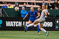 Seattle, WA - Sunday, August 13, 2017: Merritt Mathias during a regular season National Women's Soccer League (NWSL) match between the Seattle Reign FC and the North Carolina Courage at Memorial Stadium.