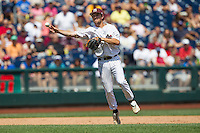 Mississippi State shortstop Adam Fraizer (12) makes a throw to first base during Game 11 of the 2013 Men's College World Series against the Oregon State Beavers on June 21, 2013 at TD Ameritrade Park in Omaha, Nebraska. The Bulldogs defeated the Beavers 4-1, to reach the CWS Final and eliminating Oregon State from the tournament. (Andrew Woolley/Four Seam Images)