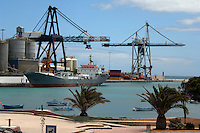 Cargo ship Islas dos in the harbour of Puerto del Rosario, Fuerteventura, Canary Islands, Spain.