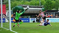 Exeter City's Christy Pym saves from Lincoln City's Matt Green<br /> <br /> Photographer Chris Vaughan/CameraSport<br /> <br /> The EFL Sky Bet League Two Play Off First Leg - Lincoln City v Exeter City - Saturday 12th May 2018 - Sincil Bank - Lincoln<br /> <br /> World Copyright &copy; 2018 CameraSport. All rights reserved. 43 Linden Ave. Countesthorpe. Leicester. England. LE8 5PG - Tel: +44 (0) 116 277 4147 - admin@camerasport.com - www.camerasport.com