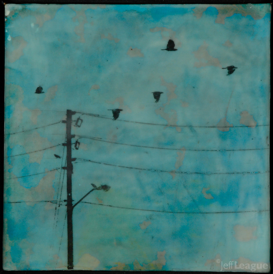 Crows in turquoise sky with power lines mixed media photo transfer/encaustic painting by Florida Artist Jeff League.